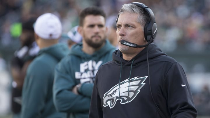 PHILADELPHIA, PA - NOVEMBER 25: Defensive coordinator Jim Schwartz of the Philadelphia Eagles looks on against the New York Giants at Lincoln Financial Field on November 25, 2018 in Philadelphia, Pennsylvania. (Photo by Mitchell Leff/Getty Images)