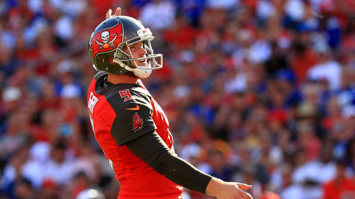 TAMPA, FLORIDA - SEPTEMBER 22: Matt Gay #9 of the Tampa Bay Buccaneers is congratulated after a field goal during a game against the New York Giants at Raymond James Stadium on September 22, 2019 in Tampa, Florida. (Photo by Mike Ehrmann/Getty Images)