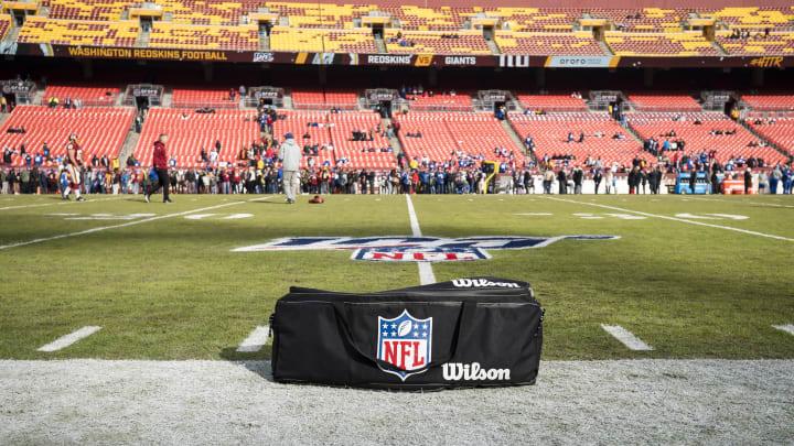 Mostly empty NFL stadium.