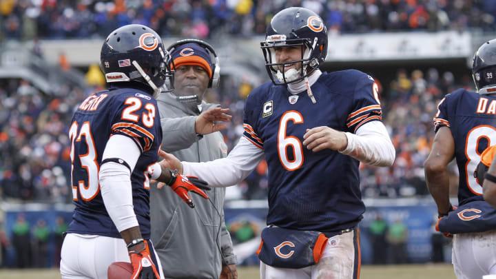 Devin Hester and Jay Cutler, New York Jets v Chicago Bears