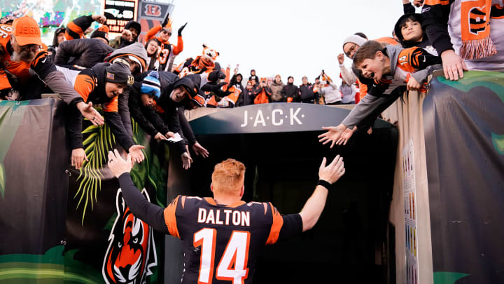 CINCINNATI, OH - DECEMBER 01:  Andy Dalton #14 of the Cincinnati Bengals greets fans after the NFL football game against the New York Jets at Paul Brown Stadium on December 1, 2019 in Cincinnati, Ohio. (Photo by Bryan Woolston/Getty Images)