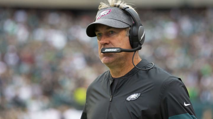 PHILADELPHIA, PA - OCTOBER 06: Head coach Doug Pederson of the Philadelphia Eagles looks on against the New York Jets at Lincoln Financial Field on October 6, 2019 in Philadelphia, Pennsylvania. (Photo by Mitchell Leff/Getty Images)