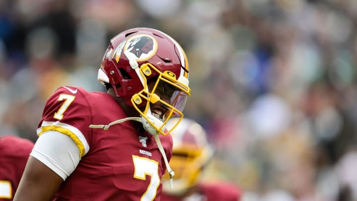 LANDOVER, MD - NOVEMBER 17: Dwayne Haskins #7 of the Washington Redskins reacts after being sacked in the second half during a game against the New York Jets at FedExField on November 17, 2019 in Landover, Maryland. (Photo by Patrick McDermott/Getty Images)