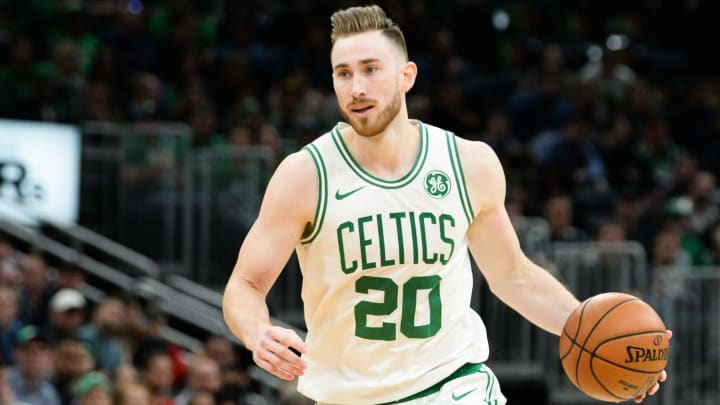 BOSTON, MA - NOVEMBER 1: Gordon Hayward #20 of the Boston Celtics dribbles the basketball against the New York Knicks in the second half at TD Garden on November 1, 2019 in Boston, Massachusetts. NOTE TO USER: User expressly acknowledges and agrees that, by downloading and or using this photograph, User is consenting to the terms and conditions of the Getty Images License Agreement. (Photo by Kathryn Riley/Getty Images)