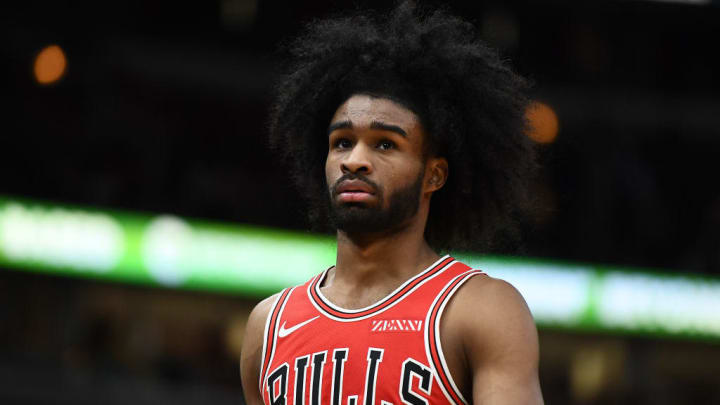 CHICAGO, ILLINOIS - NOVEMBER 12:  Coby White #0 of the Chicago Bulls walks backcourt during a game against the New York Knicks at United Center on November 12, 2019 in Chicago, Illinois. NOTE TO USER: User expressly acknowledges and agrees that, by downloading and or using this photograph, User is consenting to the terms and conditions of the Getty Images License Agreement. (Photo by Stacy Revere/Getty Images)