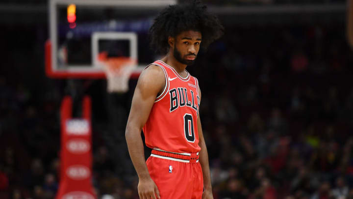 CHICAGO, ILLINOIS - NOVEMBER 12:  Coby White #0 of the Chicago Bulls waits for a free throw during a game against the New York Knicks at United Center on November 12, 2019 in Chicago, Illinois. NOTE TO USER: User expressly acknowledges and agrees that, by downloading and or using this photograph, User is consenting to the terms and conditions of the Getty Images License Agreement. (Photo by Stacy Revere/Getty Images)