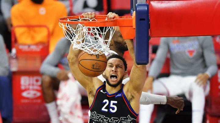 Ben Simmons dunks against the Knicks.
