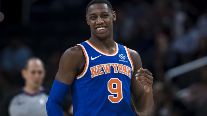 WASHINGTON, DC - OCTOBER 07: RJ Barrett #9 of the New York Knicks celebrates during the second half against the Washington Wizards at Capital One Arena on October 7, 2019 in Washington, DC. NOTE TO USER: User expressly acknowledges and agrees that, by downloading and or using this photograph, User is consenting to the terms and conditions of the Getty Images License Agreement. (Photo by Scott Taetsch/Getty Images)