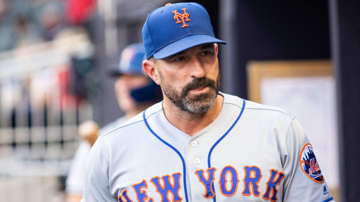ATLANTA, GA - AUGUST 15: Mickey Callaway #36 of the New York Mets looks on during the game against the Atlanta Braves at SunTrust Park on August 15, 2019 in Atlanta, Georgia. (Photo by Carmen Mandato/Getty Images)