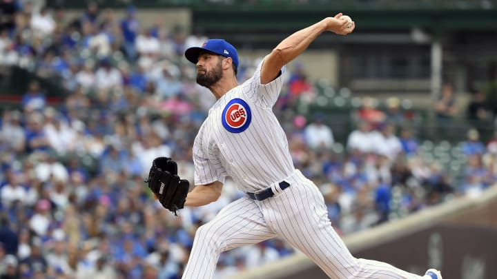 CHICAGO, ILLINOIS - JUNE 23: Cole Hamels #35 of the Chicago Cubs pitches the ball against the New York Mets at Wrigley Field on June 23, 2019 in Chicago, Illinois. (Photo by Quinn Harris/Getty Images)