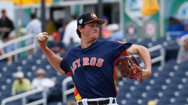 WEST PALM BEACH, FL - FEBRUARY 25: Forrest Whitley #68 of the Houston Astros throws the ball against the New York Mets during a spring training game at The Fitteam Ballpark of the Palm Beaches on February 25, 2019 in West Palm Beach, Florida. (Photo by Joel Auerbach/Getty Images)