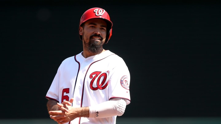 WASHINGTON, DC - SEPTEMBER 04: Anthony Rendon #6 of the Washington Nationals looks on from second base against the New York Mets at Nationals Park on September 04, 2019 in Washington, DC. (Photo by Rob Carr/Getty Images)