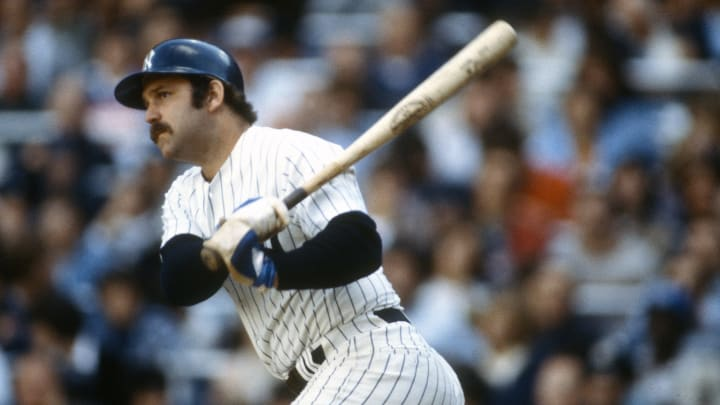 NEW YORK - CIRCA 1979: Thurman Munson #15 of the New York Yankees bats during an Major League Baseball game circa 1979 at Yankee Stadium in the Bronx borough of New York City. Munson played for the Yankees from 1969-79. (Photo by Focus on Sport/Getty Images)