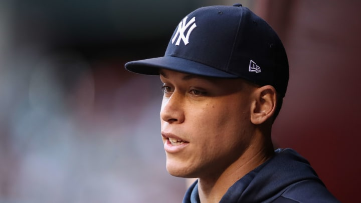 PHOENIX, ARIZONA - APRIL 30:  Aaron Judge #99 of the New York Yankees in the dugout during the first inning of the MLB game against the Arizona Diamondbacks at Chase Field on April 30, 2019 in Phoenix, Arizona. (Photo by Christian Petersen/Getty Images)