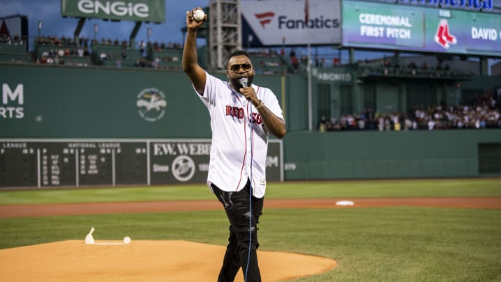 BOSTON, MA - SEPTEMBER 9: Former designated hitter David Ortiz #34 of the Boston Red Sox addresses the crowd after throwing out a ceremonial first pitch as he returns to Fenway Park before a game against the New York Yankees on September 9, 2019 at Fenway Park in Boston, Massachusetts. (Photo by Billie Weiss/Boston Red Sox/Getty Images)