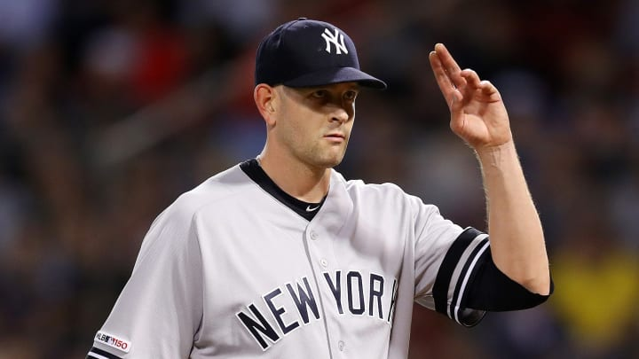 BOSTON, MASSACHUSETTS - SEPTEMBER 09: James Paxton #65 of the New York Yankees acknowledges the crowd after being relieved during the seventh inning of the game between the Boston Red Sox and the New York Yankees at Fenway Park on September 09, 2019 in Boston, Massachusetts. (Photo by Maddie Meyer/Getty Images)