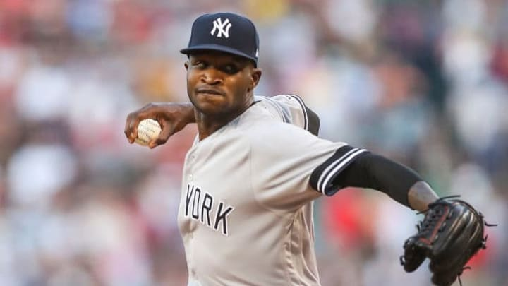 BOSTON, MA - JULY 28:  Domingo German #55 of the New York Yankees pitches in the first inning against the Boston Red Sox at Fenway Park on July 28, 2019 in Boston, Massachusetts.  (Photo by Adam Glanzman/Getty Images)
