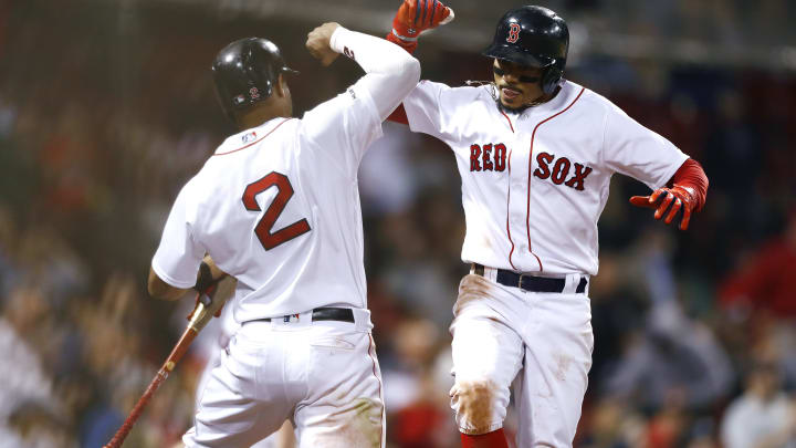 Xander Bogaerts and Mookie Betts celebrating in Boston. Could we get more of this in 2021?