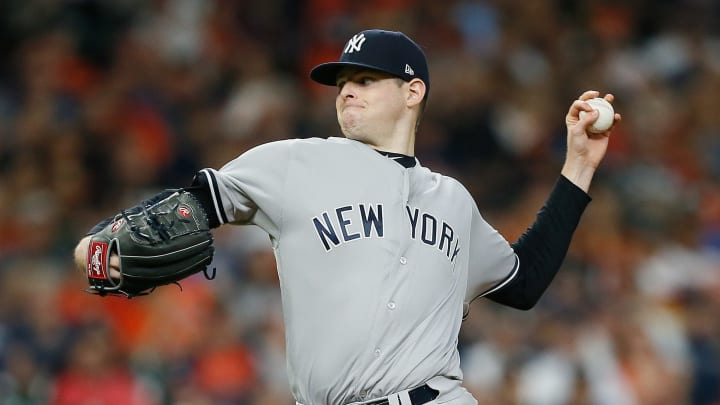 HOUSTON, TX - MAY 01:  Jordan Montgomery #47 of the New York Yankees pitches in the first inning against the Houston Astros at Minute Maid Park on May 1, 2018 in Houston, Texas.  (Photo by Bob Levey/Getty Images)