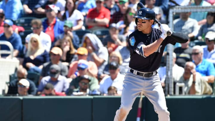 FORT MYERS, FL - MARCH 22: Jacoby Ellsbury #22 of the New York Yankees in action during the spring training game between the Minnesota Twins and the New York Yankees at Hammond Stadium on March 22, 2018 in Fort Myers, Florida. (Photo by B51/Mark Brown/Getty Images) *** Local Caption *** Jacoby Ellsbury