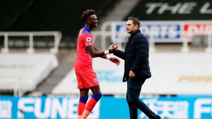 Lampard and Abraham embrace at the final whistle