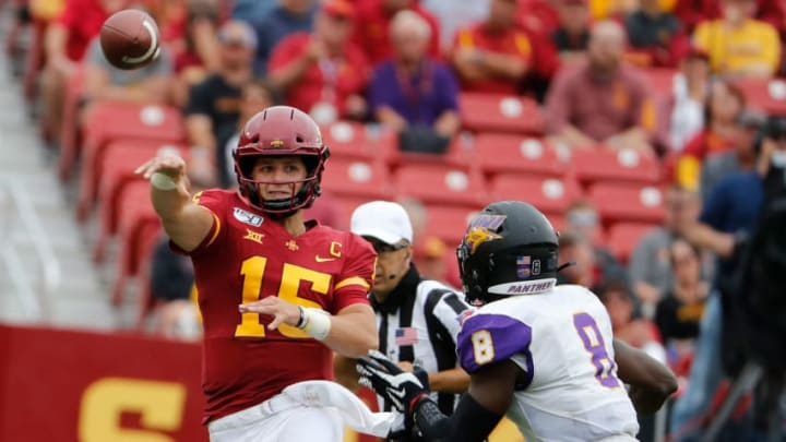 AMES, IA - AUGUST 31: Quarterback Brock Purdy #15 of the Iowa State Cyclones throws under pressure from linebacker Spencer Perry #8 of the Northern Iowa Panthers in the first half of play at Jack Trice Stadium on August 31, 2019 in Ames, Iowa. (Photo by David Purdy/Getty Images)