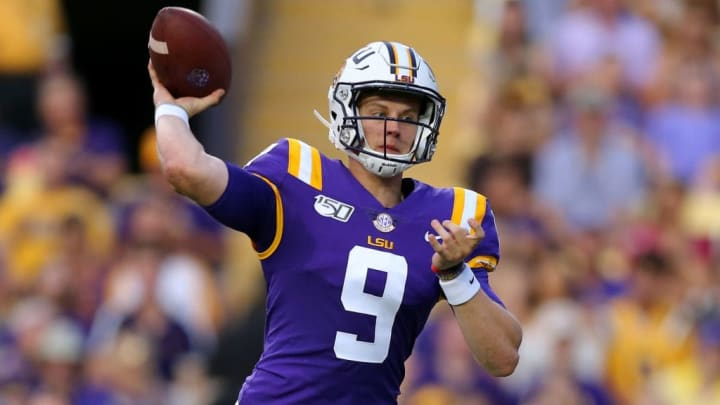 BATON ROUGE, LOUISIANA - SEPTEMBER 14: Joe Burrow #9 of the LSU Tigers throws the ball during a game against the Northwestern State Demons at Tiger Stadium on September 14, 2019 in Baton Rouge, Louisiana. (Photo by Jonathan Bachman/Getty Images)