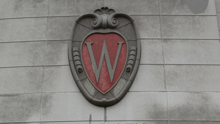 MADISON, WI - OCTOBER 12: A University of Wisconsin logo on the side of the Kohl Center on the campus of the University of Wisconsin on October 12, 2013 in Madison, Wisconsin. (Photo by Mike McGinnis/Getty Images)