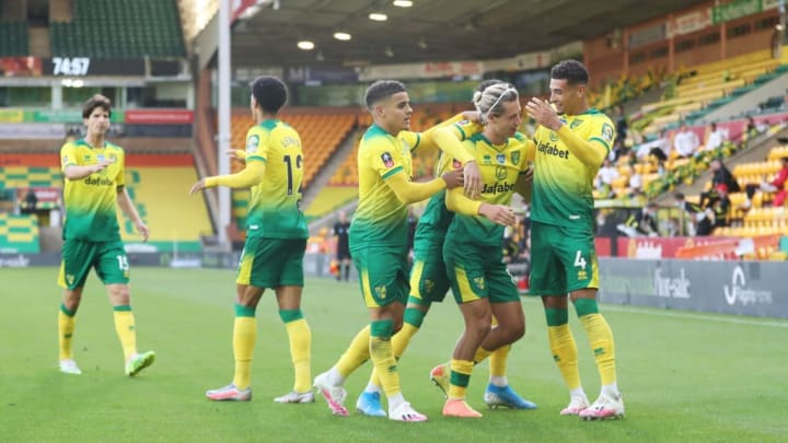 Norwich City celebrate Todd Cantwell's goal in the FA Cup Quarter-Final.
