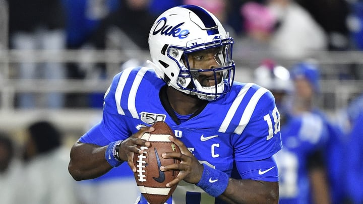 DURHAM, NORTH CAROLINA - NOVEMBER 09: Quentin Harris #18 of the Duke Blue Devils rolls out against the Notre Dame Fighting Irish during the second quarter of their game at Wallace Wade Stadium on November 09, 2019 in Durham, North Carolina. (Photo by Grant Halverson/Getty Images)
