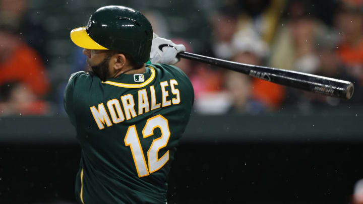 BALTIMORE, MARYLAND - APRIL 08: Kendrys Morales #12 of the Oakland Athletics bats against the Baltimore Orioles at Oriole Park at Camden Yards on April 8, 2019 in Baltimore, Maryland. (Photo by Patrick Smith/Getty Images)