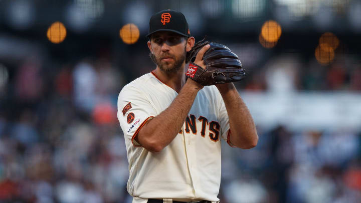 SAN FRANCISCO, CA - AUGUST 13: Madison Bumgarner #40 of the San Francisco Giants pitches against the Oakland Athletics during the third inning at Oracle Park on August 13, 2019 in San Francisco, California. The San Francisco Giants defeated the Oakland Athletics 3-2. (Photo by Jason O. Watson/Getty Images)