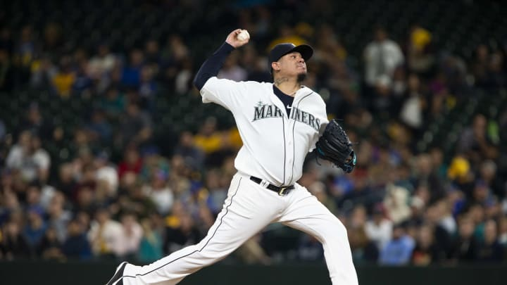 SEATTLE, WA - SEPTEMBER 26:  Felix Hernandez #34 of the Seattle Mariners delivers in the fourth inning against the Oakland Athletics at T-Mobile Park on September 26, 2019 in Seattle, Washington. (Photo by Lindsey Wasson/Getty Images)