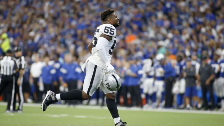 INDIANAPOLIS, INDIANA - SEPTEMBER 29: Vontaze Burfict #55 of the Oakland Raiders runs off the field after being ejected during the game against the Indianapolis Colts at Lucas Oil Stadium on September 29, 2019 in Indianapolis, Indiana. (Photo by Justin Casterline/Getty Images)