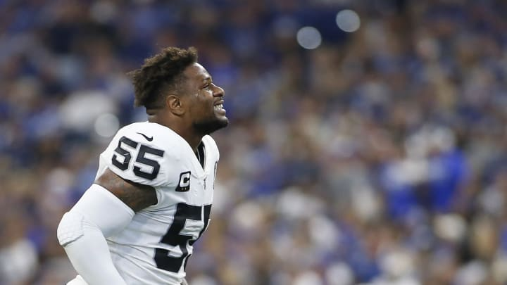INDIANAPOLIS, INDIANA - SEPTEMBER 29: Vontaze Burfict #55 of the Oakland Raiders is ejected from the game during game against the Indianapolis Colts at Lucas Oil Stadium on September 29, 2019 in Indianapolis, Indiana. (Photo by Justin Casterline/Getty Images)