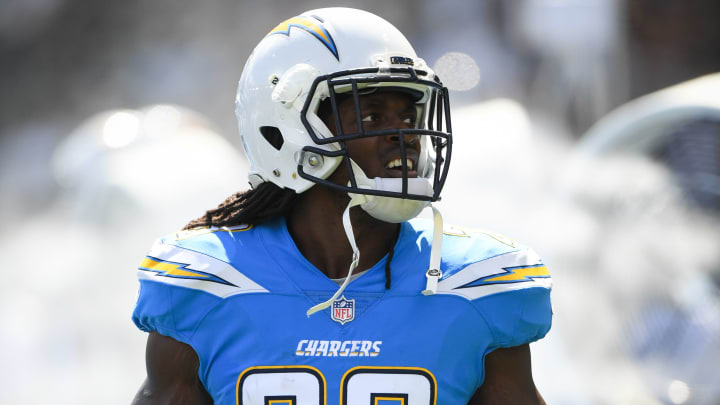 CARSON, CA - OCTOBER 07: Running back Melvin Gordon #28 of the Los Angeles Chargers warms up before the game against the Oakland Raiders at StubHub Center on October 7, 2018 in Carson, California. (Photo by Harry How/Getty Images)
