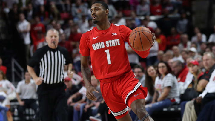 Ohio State's Luther Muhammad dribbles up court against Maryland.