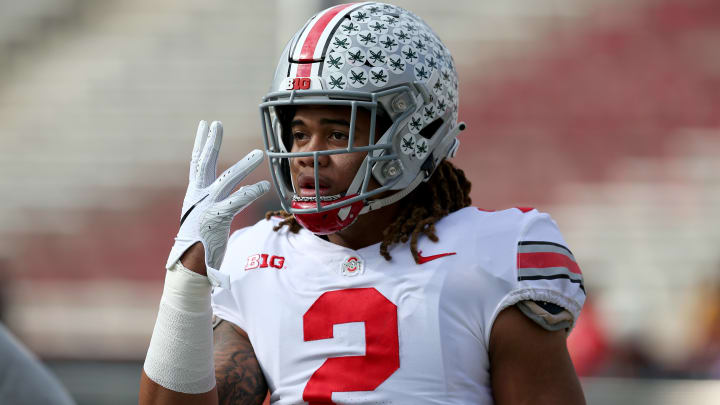 COLLEGE PARK, MD - NOVEMBER 17: Chase Young #2 of the Ohio State Buckeyes looks on prior to the game against the Maryland Terrapins at Capital One Field on November 17, 2018 in College Park, Maryland. (Photo by Will Newton/Getty Images)