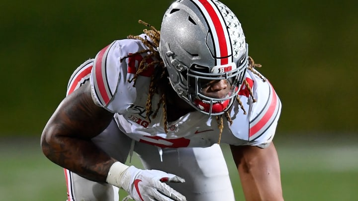 EVANSTON, ILLINOIS - OCTOBER 18: Chase Young #2 of the Ohio State Buckeyes lines up against the Northwestern Wildcats at Ryan Field on October 18, 2019 in Evanston, Illinois. (Photo by Quinn Harris/Getty Images)