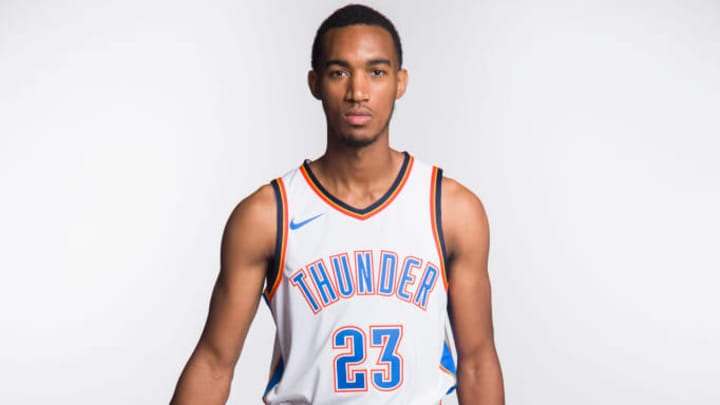 OKLAHOMA CITY, OK - SEPTEMBER 25:  Terrance Ferguson #23 of the Oklahoma City Thunder poses for a photo during media day at Chesapeake Energy Arena on September 25, 2017 in Oklahoma City, Oklahoma.  NOTE TO USER: User expressly acknowledges and agrees that, by downloading and/or using this photograph, user is consenting to the terms and conditions of the Getty Images License Agreement. (Photo by Cooper Neill/Getty Images)