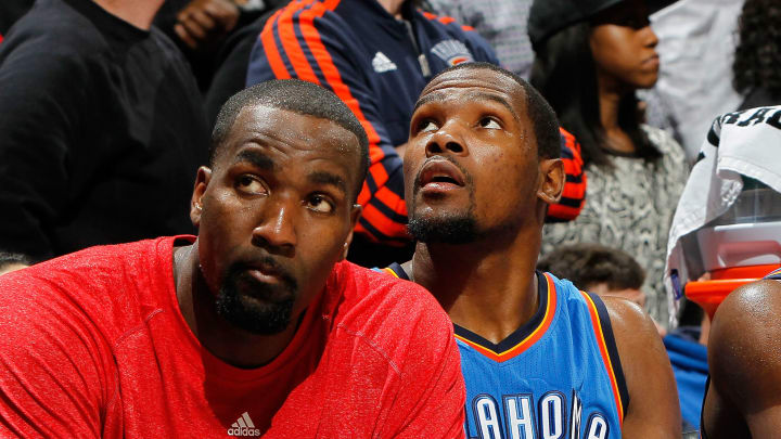 Kendrick Perkins and Kevin Durant during happier times.