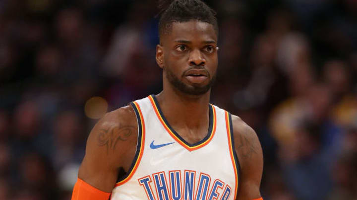 DENVER, COLORADO - DECEMBER 14: Nerlens Noel #3 of the Oklahoma City Thunder plays the Denver Nuggets at the Pepsi Center on December 14, 2018 in Denver, Colorado. NOTE TO USER: User expressly acknowledges and agrees that, by downloading and or using this photograph, User is consenting to the terms and conditions of the Getty Images License Agreement.  (Photo by Matthew Stockman/Getty Images)