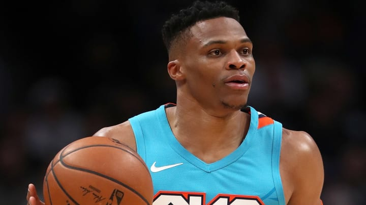 DENVER, COLORADO - FEBRUARY 26: Russell Westbrook #0 of the Oklahoma City Thunder brings the ball down the court against the Denver Nuggets in the first quarter at the Pepsi Center on February 26, 2019 in Denver, Colorado. NOTE TO USER: User expressly acknowledges and agrees that, by downloading and or using this photograph, User is consenting to the terms and conditions of the Getty Images License Agreement.  (Photo by Matthew Stockman/Getty Images)