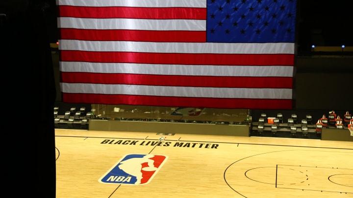An empty NBA court at Disney.