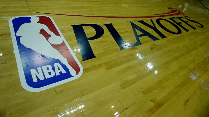 HOUSTON, TX - APRIL 27:  A Playoffs logo is seen on the court before the game between the Oklahoma City Thunder and Houston Rockets in Game Three of the Western Conference Quarterfinals of the 2013 NBA Playoffs at the Toyota Center on April 27, 2013 in Houston, Texas. NOTE TO USER: User expressly acknowledges and agrees that, by downloading and or using this photograph, User is consenting to the terms and conditions of the Getty Images License Agreement. (Photo by Scott Halleran/Getty Images).