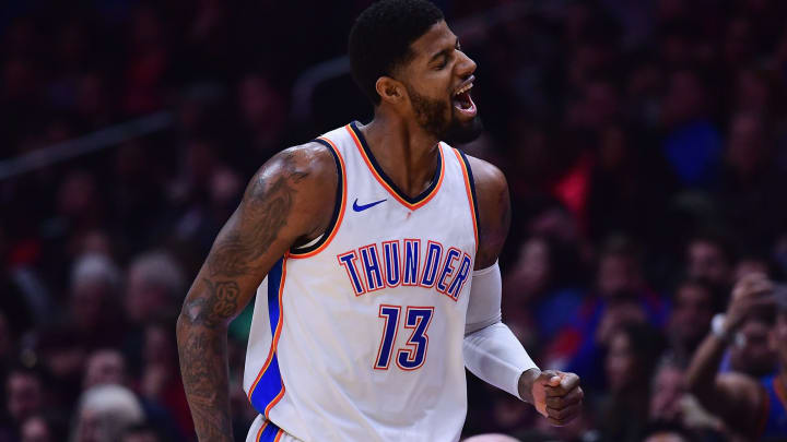 LOS ANGELES, CA - JANUARY 04:  Paul George #13 of the Oklahoma City Thunder reacts to his three pointer during a 127-117 win over the LA Clippers at Staples Center on January 4, 2018 in Los Angeles, California.  (Photo by Harry How/Getty Images)