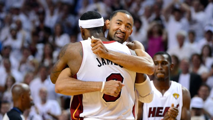 MIAMI, FL - JUNE 21:  Juwan Howard #5 of the Miami Heat celebrates with LeBron James #6 late in the fourth quarter against the Oklahoma City Thunder in Game Five of the 2012 NBA Finals on June 21, 2012 at American Airlines Arena in Miami, Florida. NOTE TO USER: User expressly acknowledges and agrees that, by downloading and or using this photograph, User is consenting to the terms and conditions of the Getty Images License Agreement.  (Photo by Ronald Martinez/Getty Images)