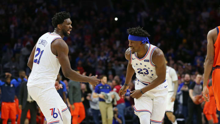 Joel Embiid and Jimmy Butler during their brief time together in Philly.