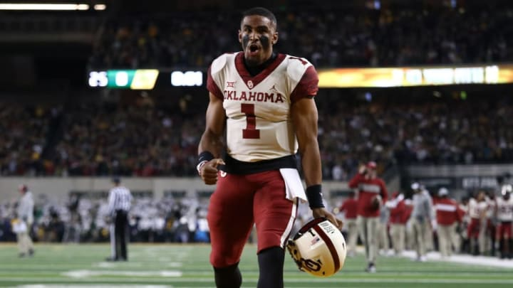 Jalen Hurts celebrates a 25-point comeback win over Baylor in Week 12.