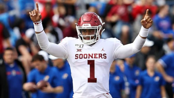 LAWRENCE, KANSAS - OCTOBER 05:  Quarterback Jalen Hurts #1 of the Oklahoma Sooners reacts as the Sooners score during the game against the Kansas Jayhawks at Memorial Stadium on October 05, 2019 in Lawrence, Kansas. (Photo by Jamie Squire/Getty Images)